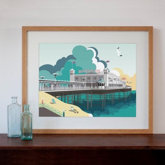 Retro Kitchen Shelves Art Print By Natalie Singh: Modern Retro Art Print Of Brighton Pier Brighton UK