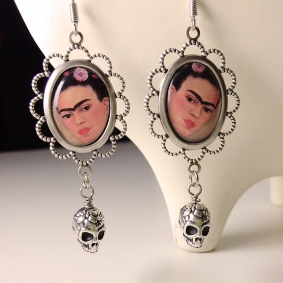 Frida Kahlo Dangle Earrings with Sugar Skulls Day of the Dead
