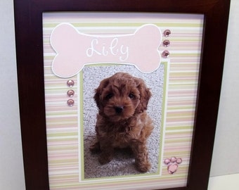 Dog Picture Mat - Dog Bone Pink & Green - Personalized - Unframed 8x10