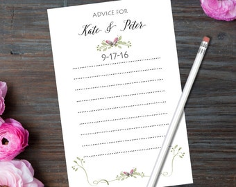 Wedding Advice Cards  50 Count / Personalized / Marriage Advice Cards / Bride and Groom Names / Wedding Date