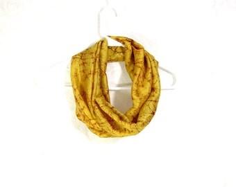 Yellow Silk Scarf Sari Silk Infinity Scarf Womens Scarf Fall Scarf Summer Scarf Lightweight Scarf Upcycled Scarf Eco Fashion Batik