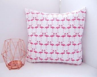 Amazing Flamingo Print Cushion - White and Pink Flamingo Print Pillow - Flamingos Cushion