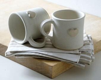 Set of two heart mugs glazed in vanilla cream - hand thrown stoneware pottery