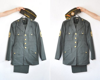 Veterans of Foreign Wars Army uniform . trouser jacket flight hat 3 pc set . VFW life member .mens medium .sale