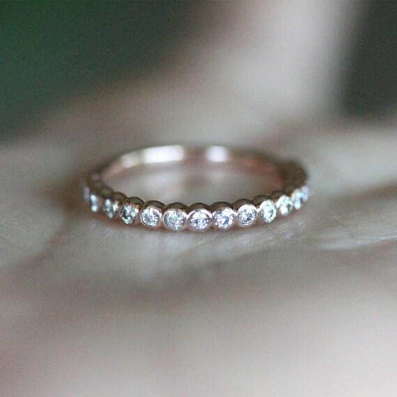 Bezel Set Moissanite Half Circle 14K Gold Ring Wedding Band