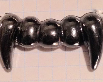 Silver gunmetal vampire fang charm