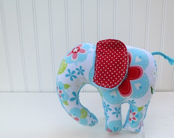 Stuffed Elephant Plush Turquoise Red Pink Green Nursery Decor Ready to Ship