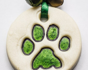 Sale / On Sale / Clearance / Marked Down / Precious Paw Print Ornament - Dark Green -  OR00037