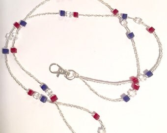 Patriotic Red White and Blue Glass Beaded Lanyard ID Tag Holder