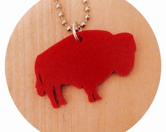Buffalo Necklace, Red Acrylic Bison, Small Southwestern Style Jewelry, Animal Shape Necklace