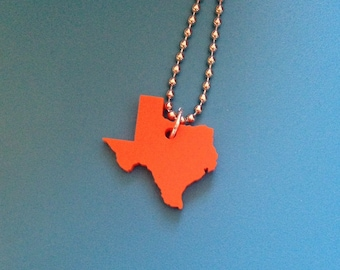 State Necklace - Texas Necklace in Orange Lasercut Acrylic - Small Size