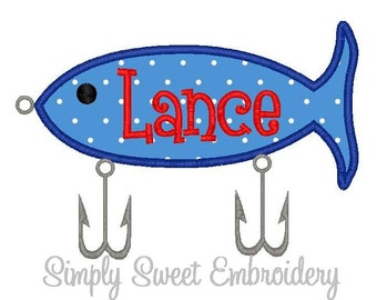 Fishing Lure Machine Embroidery Applique Design