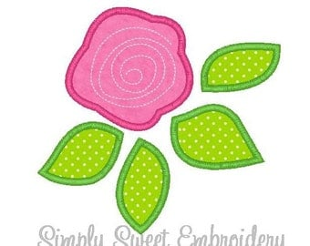 Rose Bud Machine Embroidery Applique Design