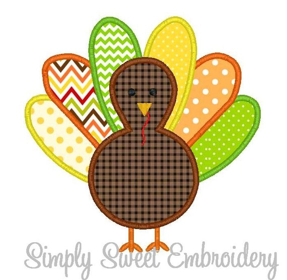 Thanksgiving turkey machine embroidery applique design