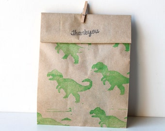 10 x DINOSAUR Print Paper Party favour bags GREEN or BLACK