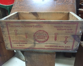 Vintage Continental Screw Co Wood Shipping Crate New Bedford MA 13x15h29L Shipping is Not free