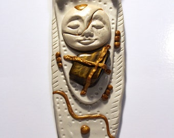 "Tiger's Eye ""Kintsugi"" Polymer Clay Goddess Pendant OOAK"