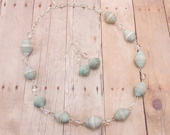 Paper Beads - Necklace and Earring Set - Light Blue with Silver and Aurora Borealis - Rwandan Beads - Pale Blue - White