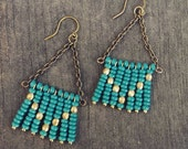 Turquoise and Gold Seed Bead Chevron Earrings