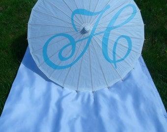 Parasol Umbrella Wedding Monogram Custom Initial Photo Prop Decoration White Ivory Umbrella Ceremony Decor