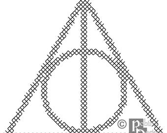 The Deathly Hallows Symbol for Shirt Patch Cross Stitch Pattern PDF