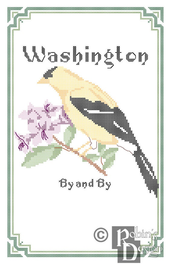 Washington State Bird, Flower and Motto Cross Stitch Pattern PDF