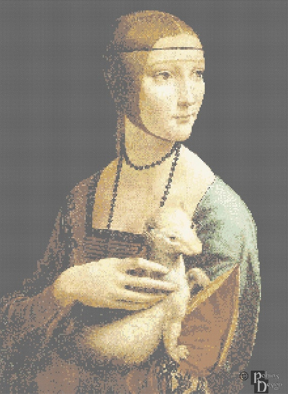 da Vinci's Lady with an Ermine Cross Stitch Pattern PDF