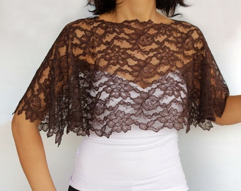Brown Lace Shrug Capelet, Evening Dress Cover Top, Formal Cape, Mother of the Bride Fashion, Lace Shawl, Fall Weddings