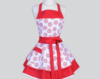 Ruffled Retro Aprons , Womens Flirty Cute Full Vintage Kitchen Apron Red and White Scroll Handmade Hostess Cooking Womans Apron