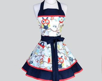 Ruffled Retro Aprons . Flirty Cute Womans Apron in Vintage Navy Blue Winking Owls Womens Handmade Full Kitchen Cooking Apron Personalize