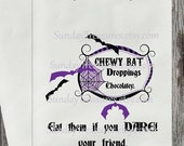 Summer Sale 12 PAKS Halloween Favor Bag/ Gross Chewy Bat Droppings / Eat If You DARE /  Candy Buffet / Purple Bat / Personalized / 3 Day Shi