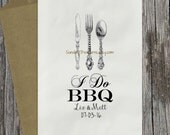 10 PAK I Do BBQ Couples Shower, Wedding Utensils Silverware Holder Favor Bag, Candy Bag / Personalized, 3 Day Ship