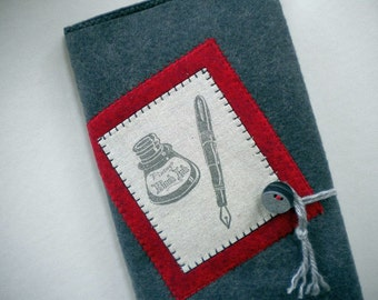 WRITE YOUR STORY - Wool Blend Felt Journal with fiber collage, Moleskine cahier journal, sketchbook, refillable