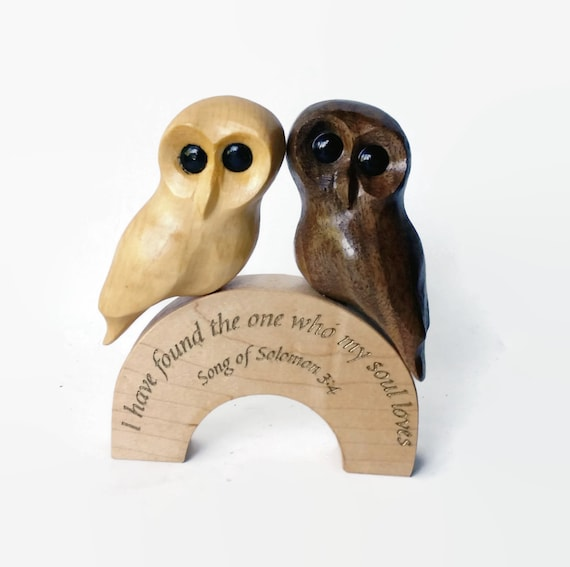 Rustic wedding cake topper handmade wood cake topper unique anniversary gift wedding gift animal cake topper owls owl