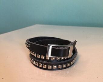 Black Faux Leather Wrap Bracelet with Silver Studs