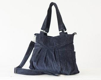 Crossbody bag in blue cotton corduroy, messenger purse convertible bag over the shoulder bag - Elessa bag
