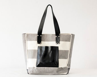 Shopper tote bag in stripe canvas and black leather, shoulder bag women purse large bag tote - The Aella tote