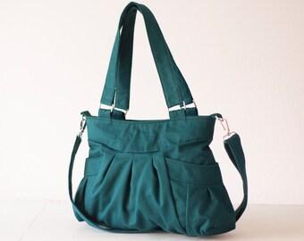 Shoulder bag in teal cotton, crossbody bag messenger purse canvas bag cotton over the shoulder purse - Elessa bag