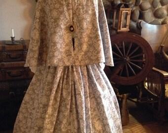 Civil War Womens Prairie Pioneer Civil War Colonial Skirt with Sash Blouse and Print Cape 4 piece set