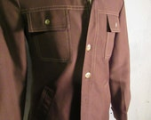 Vintage Retro Leisure Suit Jacket Brown Size S Small Button Up Brown Tan Stitching Big Collar 70's style Lined