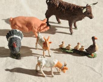 Britain plastic farm animal set, goats, turkey, ducks, pig, cow, made in England