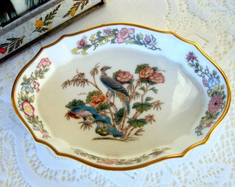 Wedgewood Kutani Crane, Fine Bone China, England,Vintage 1960s, Bird Floral, Ladies Vanity, Trinket Ring Dish, Dresser Decor, Home Decor,