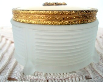 Vintage Art Deco Frosted Glass, Footed Powder Jar,1930,Tin Lid,Filigree Decoration,Gilted Ornate Edging,Ladies Vanity,Jewelry,Home Decor