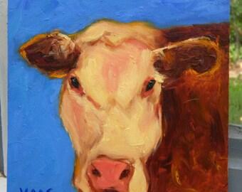 CALIFORNIA COW - 8 x 8 - Original Oil Painting - Art - Farmhouse Chic - Rustic - Home Decor - Framed Artwork - Reclaimed Barn Wood - Country