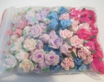 150 + Clay Fimo Roses  12-14mm - Pink Clay Rosses, Blue Clay Roses, White Clay Roses, Purple Clay Roses
