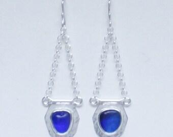 Sea Glass Jewelry - Sterling Cobalt Blue Sea Glass Earrings