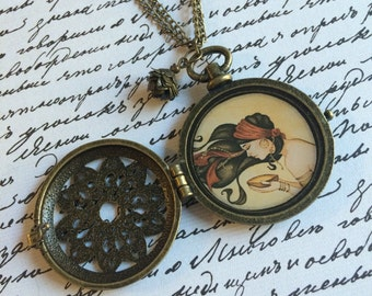 "Handmade ""Gypsy Moon"" Locket Pendant with Charms, Double Chain, Antique Gold/Brass"