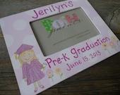 graduation frame, made to order, customize your graduate, hand painted original frame displays 4x6 photo