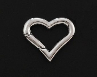 1 Stainless Steel Heart Trigger-less Clasp - 17mm X 20mm - 100% Guarantee