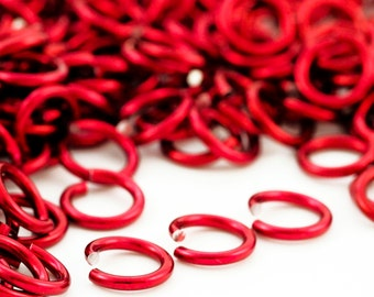 100 - 14 gauge Ruby Red Anodized Aluminum Jump Rings - 6.6mm ID - 9mm OD - 1/4""